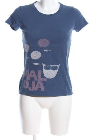 Maloja T-Shirt blau Motivdruck Casual-Look
