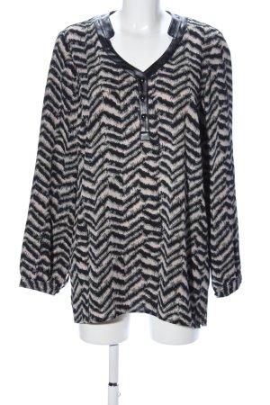 Slip-over blouse zwart-room volledige print casual uitstraling