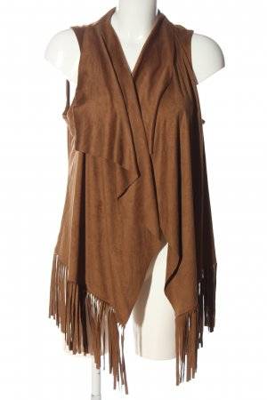 Malvin Fringed Vest brown casual look