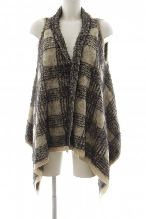 Malvin Fringed Vest oatmeal-black check pattern fluffy