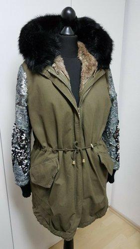 Malvin Manteau de fourrure multicolore pelage