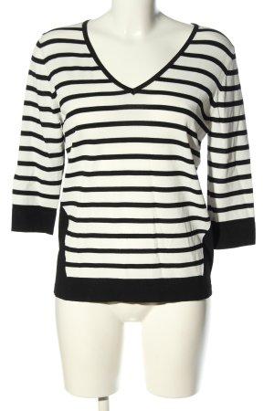 Malvin Strickpullover weiß-schwarz Streifenmuster Casual-Look