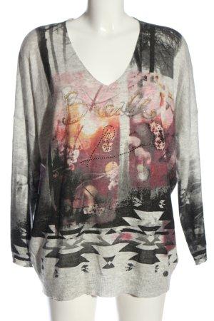 Malvin V-Ausschnitt-Pullover hellgrau-rot Motivdruck Casual-Look