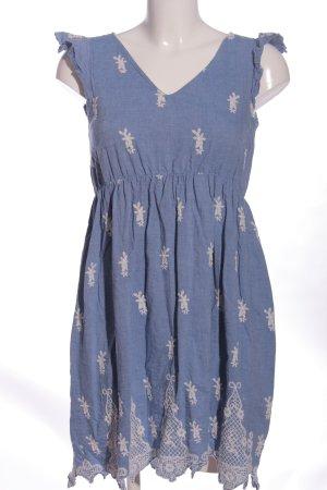 Mama licious A-Linien Kleid blau-creme abstraktes Muster Casual-Look