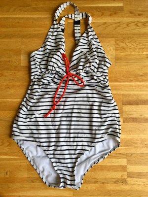 MAMALICIOUS Schwangerschafts-Badeanzug, Weiß-Blau gestreift, mit roter Schleife (M)