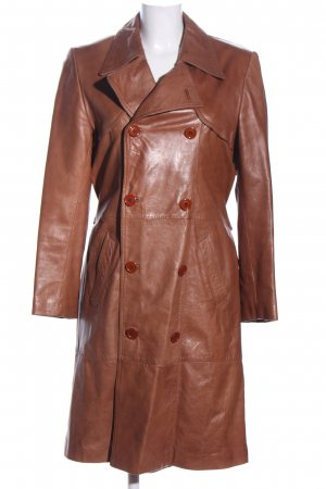 Manteau en cuir brun style décontracté