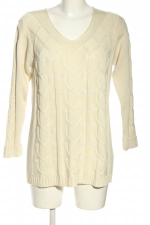 Mamut Strickpullover wollweiß-lila grafisches Muster Casual-Look