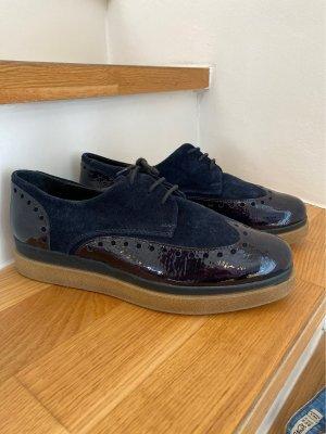 Manas: Business Schuhe in nachtblau ( lack und rauleder)