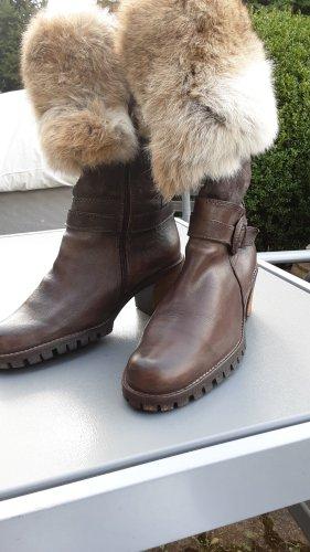 Manas design Bottes fourrées marron clair-brun foncé