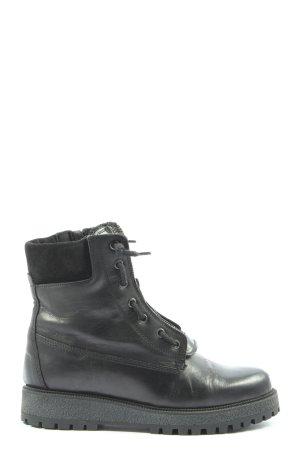 Manas Reißverschluss-Stiefeletten schwarz Casual-Look