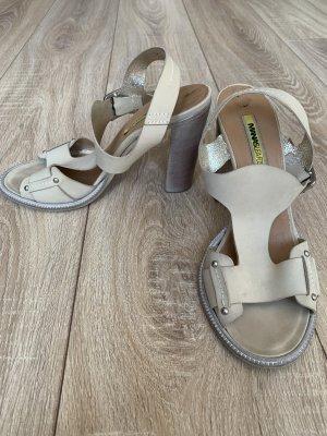 Manas Sandalo con tacco alto e lacci a T beige chiaro