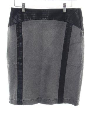 Mandarin Bleistiftrock hellgrau-schwarz Casual-Look