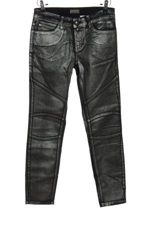 Mandarin Pantalon cinq poches argenté style décontracté