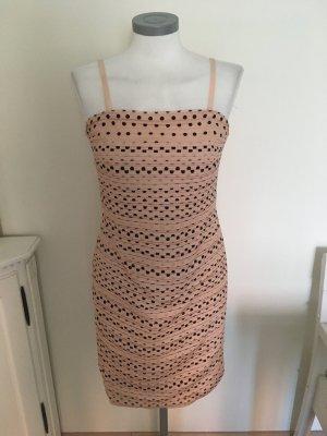 Mandarin Heine Kleid rosa rose schwarz Punkte Polka Dots 36 S