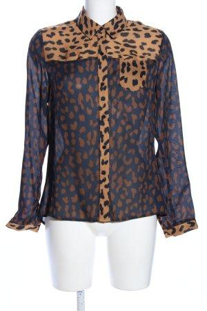 Mandarin Hemd-Bluse Leomuster Elegant