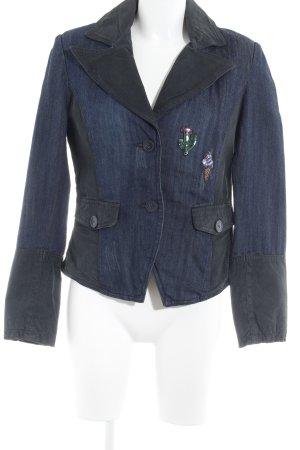 Mandarin Jeansblazer schwarz-dunkelblau Casual-Look
