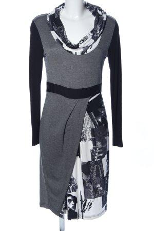 Mandarin Jerseykleid hellgrau-weiß meliert Business-Look