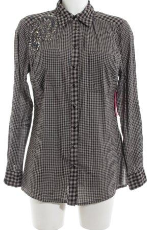 Mandarin Langarmhemd schwarz-wollweiß Karomuster Casual-Look