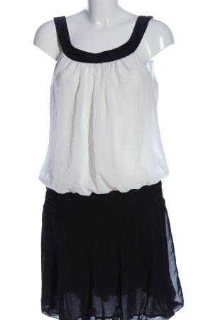 Mandarin Minikleid weiß-schwarz extravaganter Stil