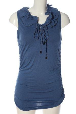 Mandarin Muscle Shirt blue casual look