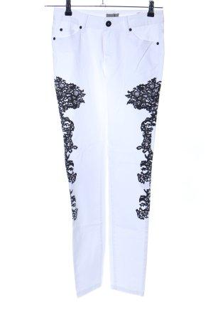 Mandarin Slim Jeans weiß-schwarz Casual-Look