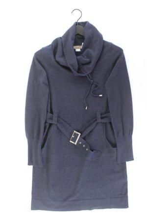 Mandarin Strickkleid Größe 40 mit Gürtel Langarm blau aus Baumwolle