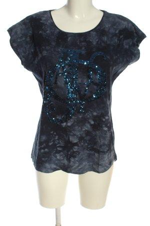 Mandarin T-Shirt Allover-Druck Casual-Look