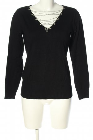 Mandarin V-Ausschnitt-Pullover schwarz Casual-Look