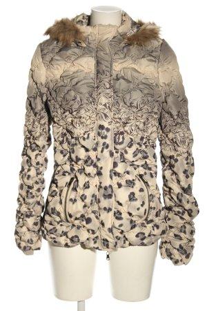 Mandarin Winterjacke wollweiß-schwarz abstraktes Muster Casual-Look
