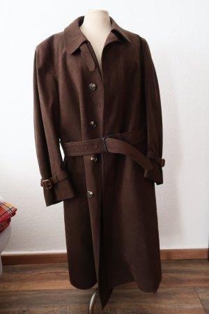 Lodenfrey Cappotto in lana marrone scuro Pelle