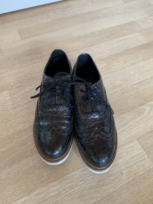 Manfield Wingtip Shoes anthracite-petrol