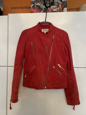 Mango Leather Jacket red-brick red
