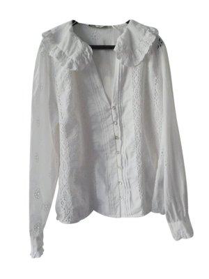 Zara Blouse en dentelle blanc coton