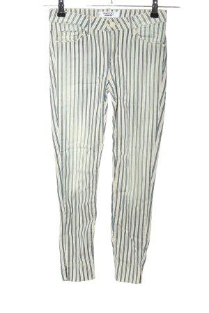 Mango 7/8-Hose blau-wollweiß Streifenmuster Casual-Look