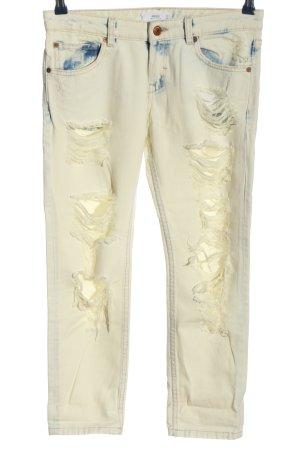 Mango Jeansy 7/8 biały-niebieski Gradient W stylu casual