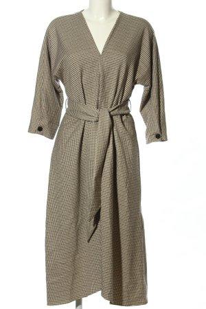 Mango A-Linien Kleid creme-schwarz Karomuster Business-Look
