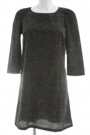 Mango A-Linien Kleid olivgrün-dunkelblau abstraktes Muster Elegant