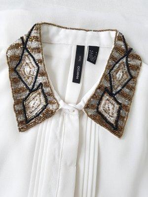 MANGO ärmellose Bluse, Top, Shirt, Gr.S, weiß, Schmuck-Kragen