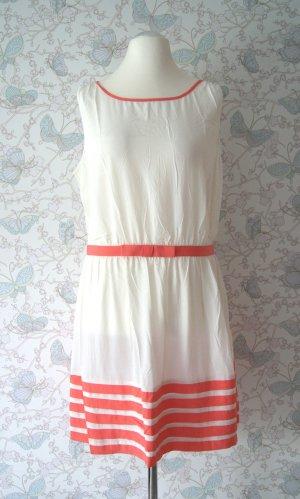 Mango Ärmelloses Kleid, zweifarbig, natur-weiß/lachs, Gr. L
