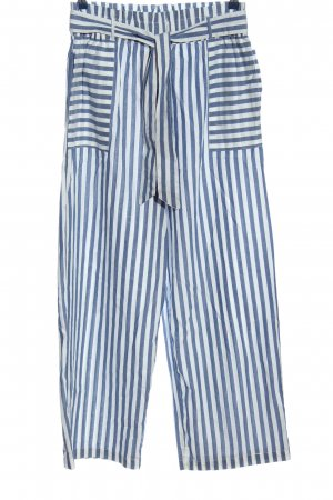 Mango Baggy Pants blue-white striped pattern casual look