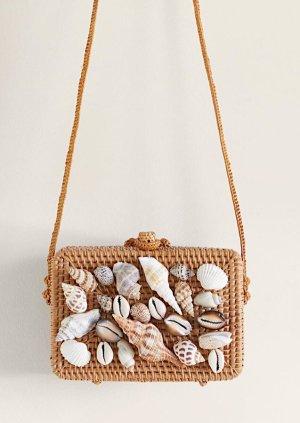 Mango Bambus Tasche mit Muscheln Strandtasche Neu