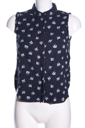 Mango Basics ärmellose Bluse blau-weiß Allover-Druck Casual-Look