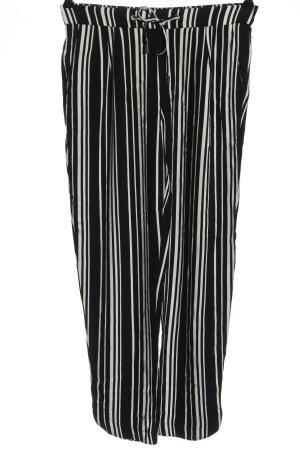 Mango Basics Baggy Pants schwarz-weiß Streifenmuster Casual-Look