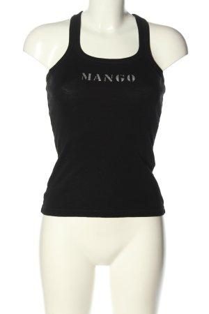 Mango Basics Basic Top schwarz Schriftzug gedruckt Casual-Look