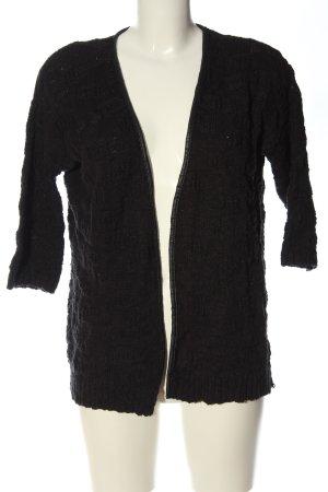 Mango Basics Kardigan czarny Warkoczowy wzór W stylu casual