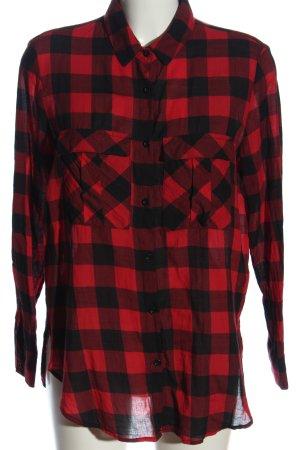 Mango Basics Camisa de franela negro-rojo look casual