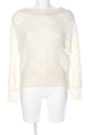 Mango Basics Jersey de ganchillo blanco puro look casual