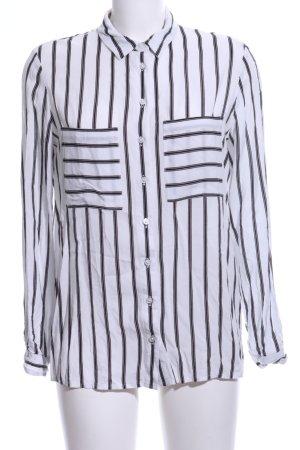 Mango Basics Hemd-Bluse weiß-schwarz Streifenmuster Business-Look