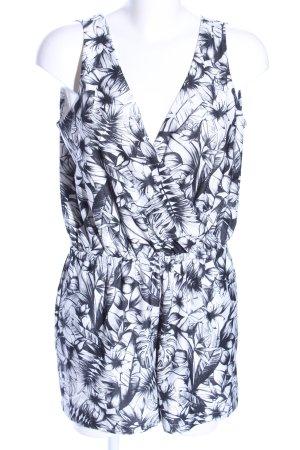 Mango Basics Jumpsuit weiß-schwarz Blumenmuster Casual-Look