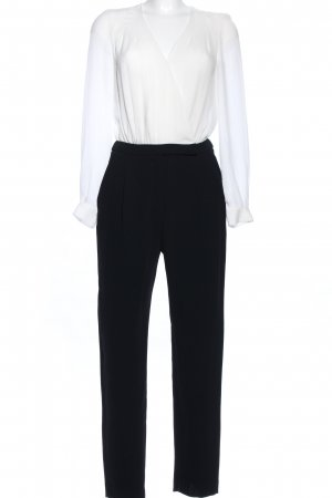 Mango Basics Jumpsuit weiß-schwarz Elegant